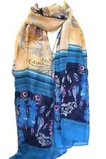 MARRON ET BLEU EXOTIQUE imprimé floral Grand Maxi Écharpe Étole Écharpes hijab
