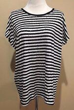 NWT Women's Black White Stripe Short Sleeve Design History Top Large