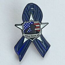 Officer Down US Lapel Pin with Thin Blue Line Ribbon Police
