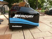 MERCURY BOAT MOTOR COWL DECAL SET  Saltwater Series Blue Stripe + Size Choices
