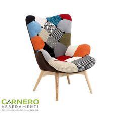 Poltrona patchwork NORMA imbottita con braccioli, confortevole, multicolore