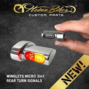 HeinzBikes Winglets MICRO 3in1 Blinker Rücklicht hinten Harley Fat Bob Chrom
