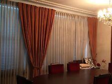 4 x Velvet long curtains Golden Ginger and 4 x sheer curtains White