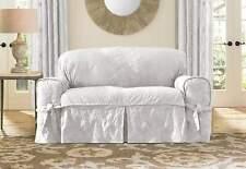 Sure Fit Matelasse Damask 1 Piece Cushion Kick Pleat LOVESEAT  Slipcover WHITE