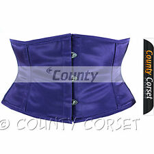 Shaper Cincher Mini Waspie Full Steel Boned Waistbust Sexy Purple Satin Corset