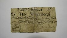 1754 Ten Shillings North Carolina NC Colonial Currency Note Bill! RARE 10s