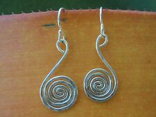 Pure Argentium Silver Hammered Spiral Earrings. Unique Handmade Hawaiian Jewelry