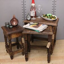 Kosi Nest of 3 Side Tables Mango Wood Intricate Leaf Carving with Ornate Legs