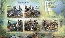 More details for comoros wild animals stamps 2011 mnh rabbits jackrabbit fauna 5v m/s