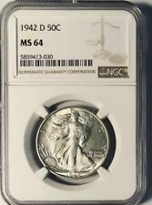 1942-D Walking Liberty Half Dollar - NGC MS-64 - Mint State 64
