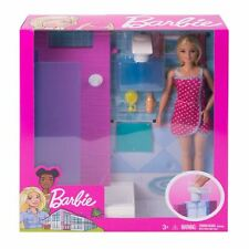 Barbie® Doll and Furniture BATHROOM Set with Working Shower + 3 Accessories