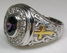 AMETHYST CRUCIFIX CHRISTIAN 925 STERLING SILVER BISHOP RING NEW HOLY MEN'S