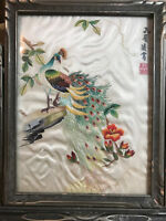 "Vintage Asian Embroidery on Silk ""Peacock On Branch Scene"" - Signed And Framed"