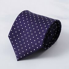 E.Marinella Napoli Royal Purple and White Jacquard Dot Print Silk Tie