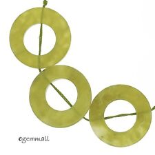 5 Serpentine Olive Jade Donut Circle Pendant Beads 26mm #68042