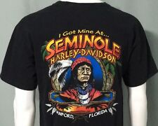 Harley Davidson Motorcycle Large T Shirt Seminole Indian Sanford Florida Black