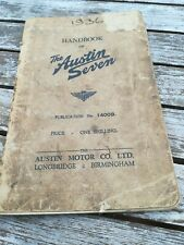 AUSTIN SEVEN HANDBOOK 1400B. SEPTEMBER 1936. ORIGINAL FACTORY PUBLICATION
