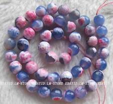 """8mm Blue Pink Crab Agate Faceted Round Loose Beads Stone 15"""""""