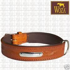 Premium Hundehalsband Handgraviert Vollleder WOZA Lederhalsband Rindnappa HP1355