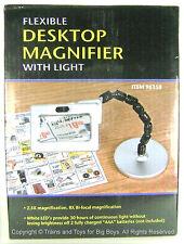 Flexible Desktop Magnifier With Light 2.5X Rectangular Magnifying Glass Hobby R