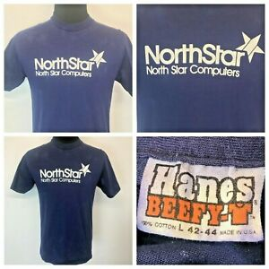 Vintage 70s 80s North Star Computers T Shirt size L Hanes Beefy T made in USA S5