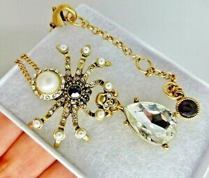 Spider necklace gold plate pearl crystal rhinestone vintage Art Deco style gift