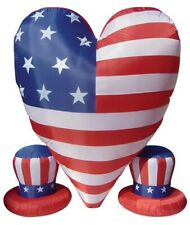 6' Air Blown Inflatable Patriotic Heart With 2 Small Hats Yard Decoration