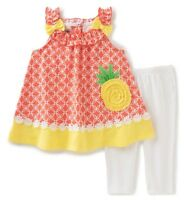 Girls white leggings pineapple swing top tunic outfit 12-18 2T 4T 5 6 NWT shirt