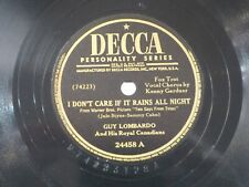 US 78 rpm Guy Lombardo: I don't care if it rains .../ At the rodeo, Decca 24458