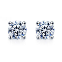 18K WHITE GOLD GF MADE WITH SWAROVSKI CRYSTAL EARRINGS STUD 6MM 0.8CT