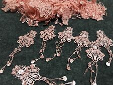 10pcs Pink Venise Lace Embroidery Applique Motif With Tassel Costume 3.5*10cm