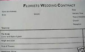 Floristry Wedding Flower order pad 50 sheets wedding planner flowers 21cm x 30cm