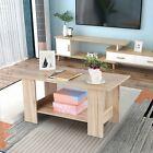 Coffee Table Modern Shelf Wood Side Table Living Room Furniture Rectangular US
