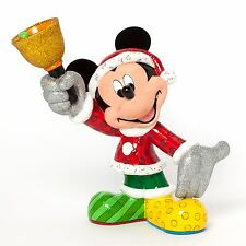 "Disney Britto Santa Mickey Mouse with Bell Holiday Christmas 8"" Figurine SALE"