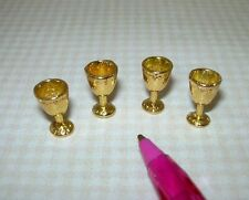 Miniature Gold Metal Goblets, Set of 4 Sturdy Attractive DOLLHOUSE 1:12 Scale