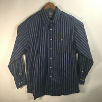 Lacoste Men's Size 46 (2XL) Long Sleeve Button Up Blue Striped Dress Shirt