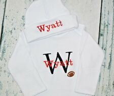 PERSONALIZED Baby Boy Football Sleeper Gown & Hat Newborn Take Home Outfit Set