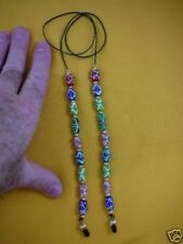 (#E258) Green blue Swirl dots glass Eyeglass leash holder chain