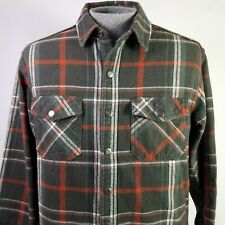 Dickies Flannel Shirt Gray Rust Plaid Mens Size Large Snaps