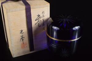 P7641: Japanese Glass Kiriko pattern sculpture TEA CADDY Natsume w/signed box