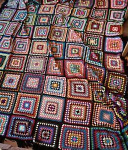 Huge massive handmade multicoloured crochet blanket vintage heavy