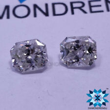 1.76 Carat Radiant Long Cut EX PAIR White Color Loose Moissanite For Earrings