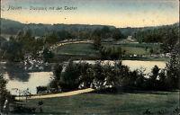 PLAUEN Sachsen um 1908 alte Ansichtskarte Partie Stadt Park Teichanlage