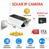 Solar Powered WiFi Wireless 1080P IP Camera Night Vision Security with 32GB Card