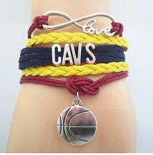 Infinity Love CAVS Basketball Team Charms Leather Sports Bracelets