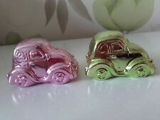 Pair of Novelty Caricature Small Pink & Yellow Volkswagon Beetles