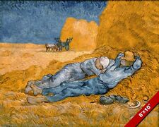 VAN GOGH NOON REST FROM WORK FIELD WORKERS REAL CANVAS GICLEE 8X10 ART PRINT