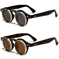 Cool Flip Up Lens Steampunk Vintage Retro Style Round Sunglasses Tortoise Gold