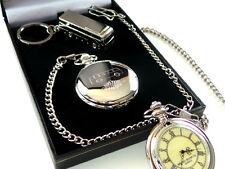 More details for bus driver coach silver custom engraved pocket watch & keyring gift set