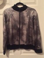 NWT Slinkey Brand Grey/Silver Jacket With Black Trim Size Medium